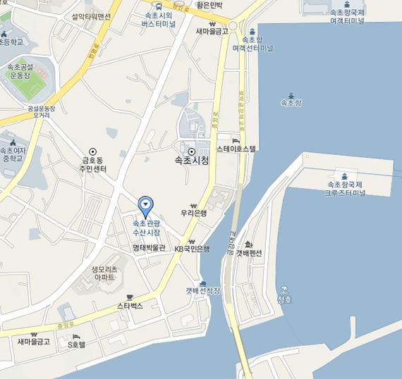 속초중앙시장 지도